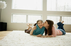 family on rug